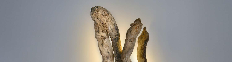luminaire bois, sculpture lumineuse, luminaire LED, pièces uniques